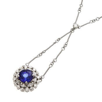 White Gold Tanzanite and Diamond Necklace
