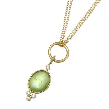 Yellow Gold Peridot and Diamond Pendant with Double Chain