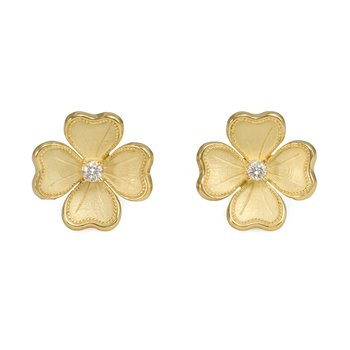 Yellow Gold Flower Stud Earrings