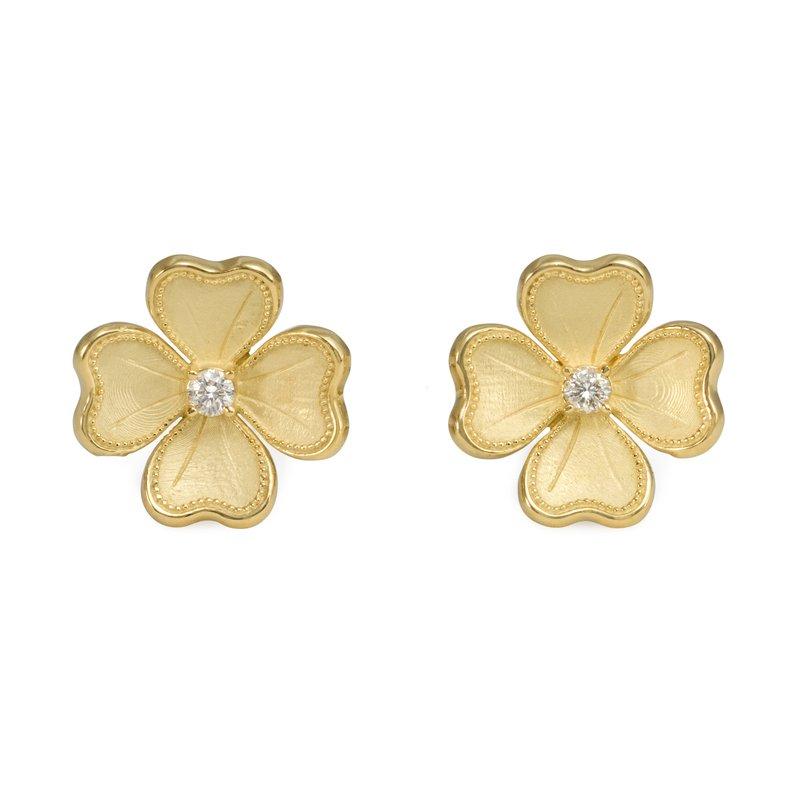 Rudolf Friedmann Yellow Gold Flower Stud Earrings