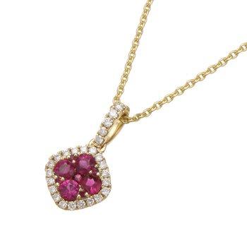 Yellow Gold Petite Ruby and Diamond Pendant