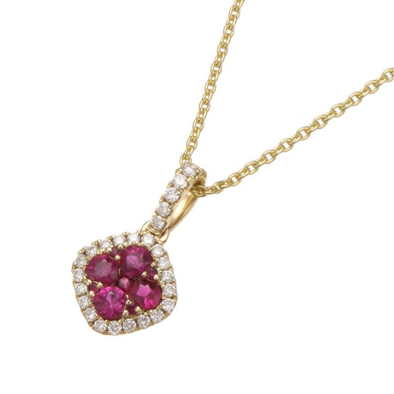 Stanton Color Yellow Gold Petite Ruby and Diamond Pendant