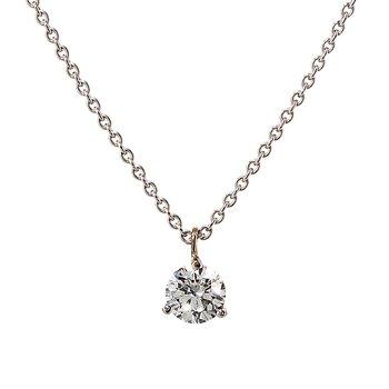 White Gold Prong Set Diamond Solitaire Pendant