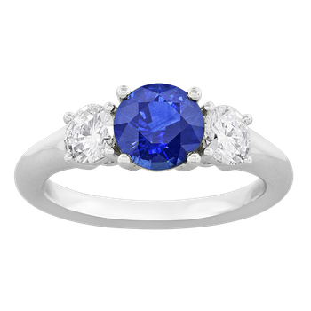 Platinum 3-Stone Blue Sapphire and Diamond Ring