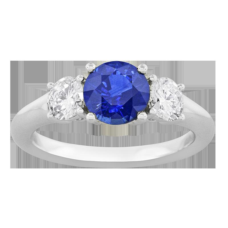 Spark Creations Platinum 3-Stone Blue Sapphire and Diamond Ring