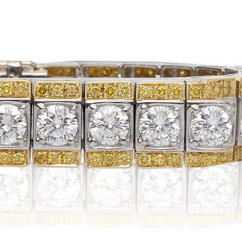 Two Tone Bracelet with White and Yellow Diamonds