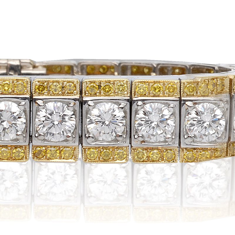 Superior Diamond Cutters Two Tone Bracelet with White and Yellow Diamonds
