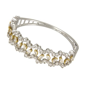 Two Tone Marquise and Round Diamond Bracelet