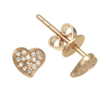 Rose Gold Diamond Heart Stud Earrings