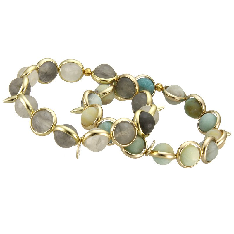 Brett Lauren Cloudy Agate and Amazonite Stretch Bracelets