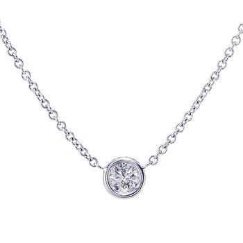 White Gold Bezel Set Diamond Solitaire Necklace
