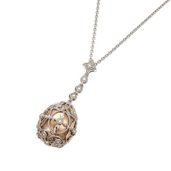 White Gold Egg Shape Diamond Pendant