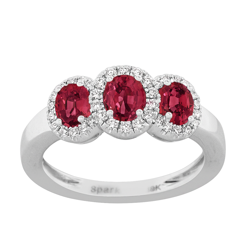 Spark Creations White Gold Ruby and Diamond Ring