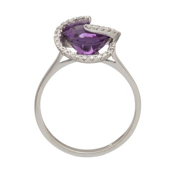 White Gold Amethyst and Diamond Swirl Ring