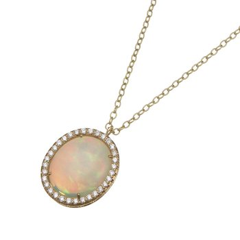 Yellow Gold Nigerian Opal and Diamond Pendant