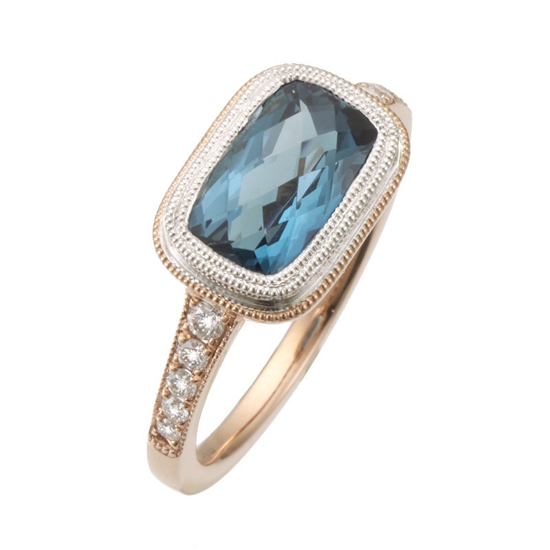 Stanton Color Rose Gold London Blue Topaz and Diamond Ring