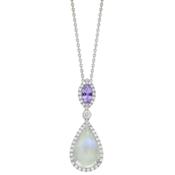White Gold Moonstone and Pink Sapphire Pendant