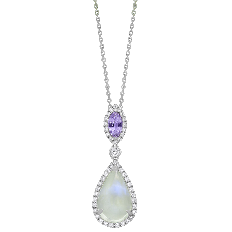 Spark Creations White Gold Moonstone and Pink Sapphire Pendant