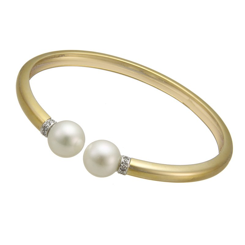 Rudolf Friedmann Yellow Gold Open Bangle with Freshwater Pearls and Diamonds