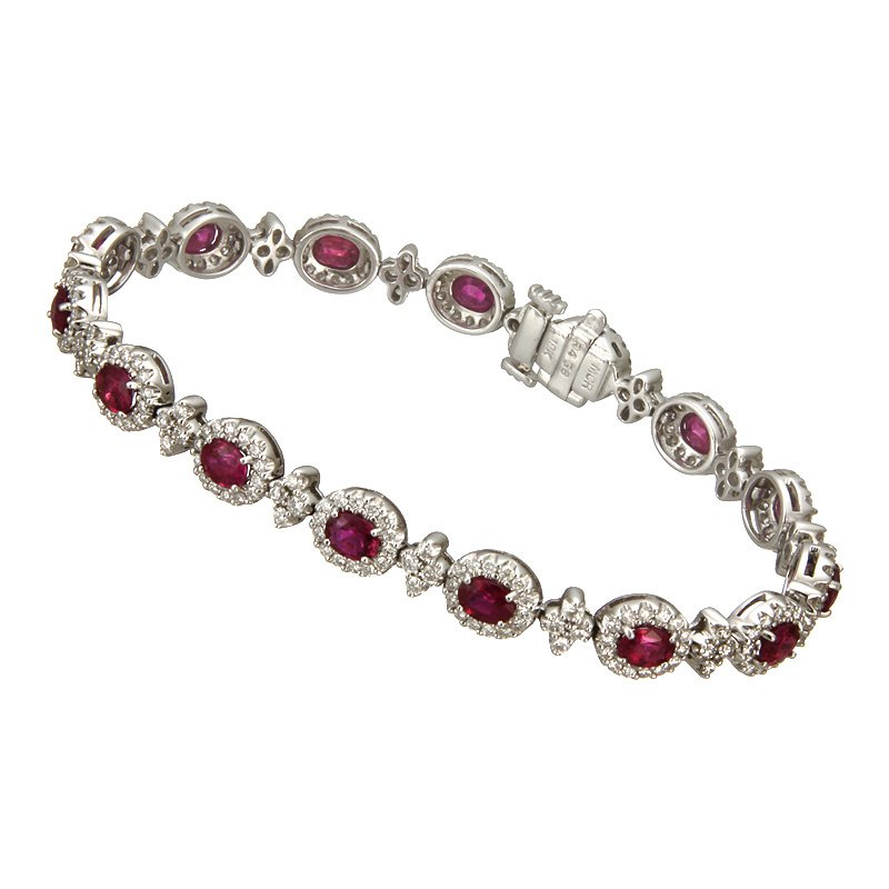 Devon Fashion White Gold Ruby and Diamond Bracelet