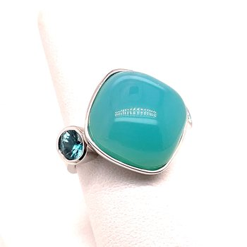 White Gold Blue Chalcedony and Blue Zircon Ring