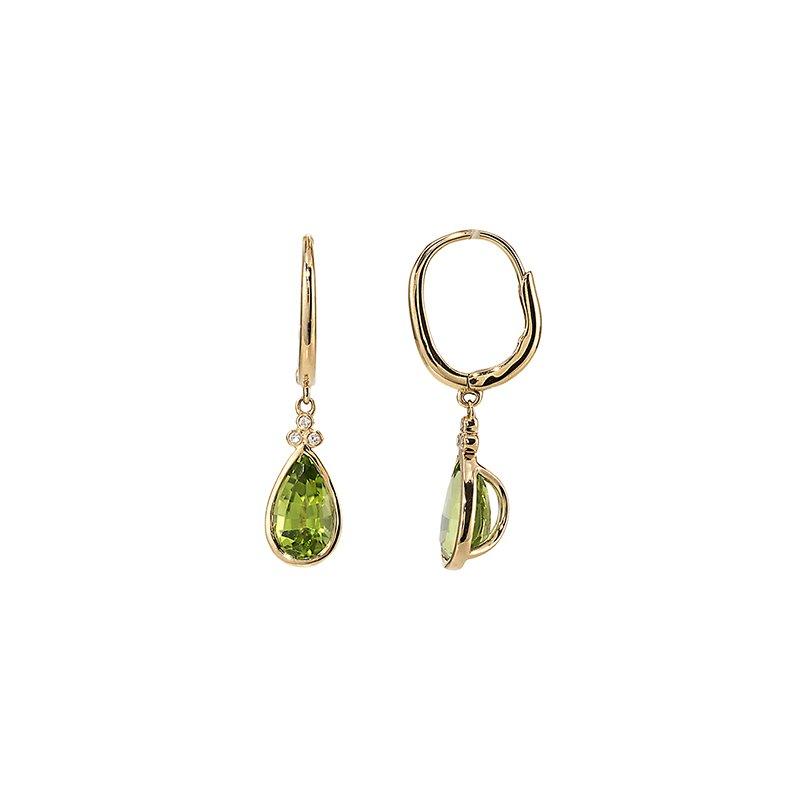 Devon Original Yellow Gold Peridot Earrings with Diamonds