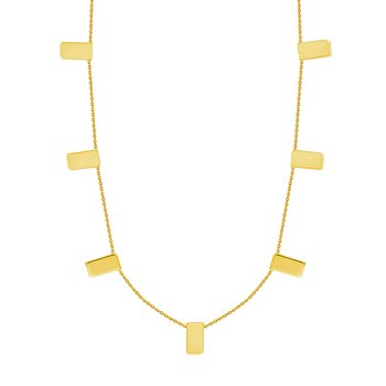 Yellow Gold Rectangular Station Necklace