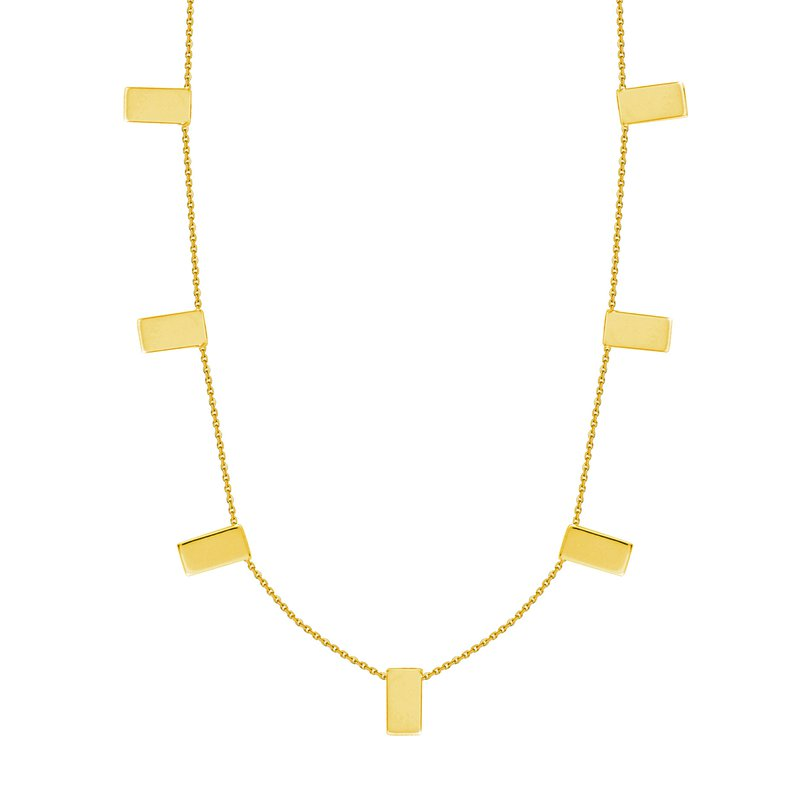 Devon Fashion Yellow Gold Rectangular Station Necklace
