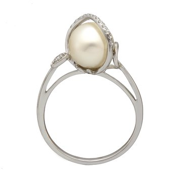 White Gold Bypass Diamond and Pearl Ring