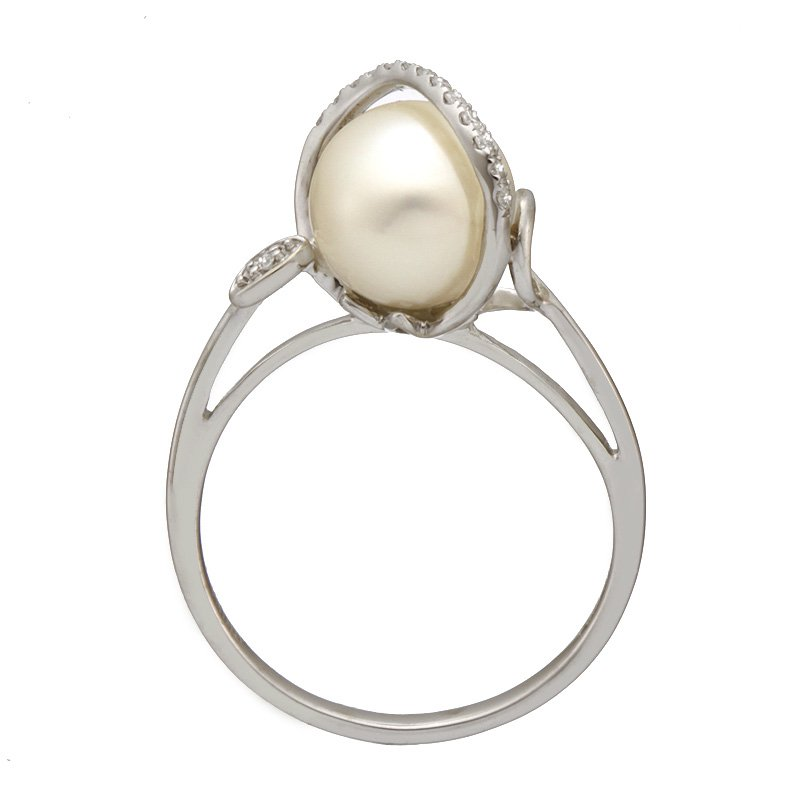 Devon Fashion White Gold Bypass Diamond and Pearl Ring