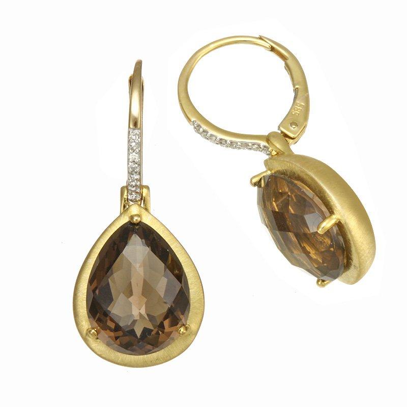 Devon Fashion Yellow Gold Smoky Quartz Drop Earrings