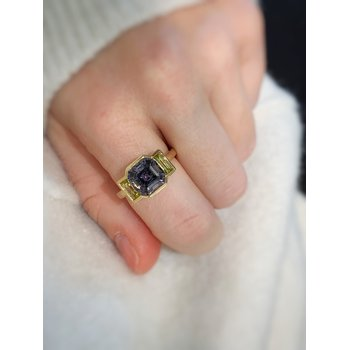 Yellow Gold Graphite Spinel and Canary Tourmaline Ring