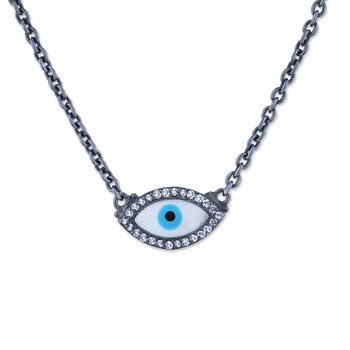 Oxidized Silver Enamel Evil Eye Necklace with Sapphires