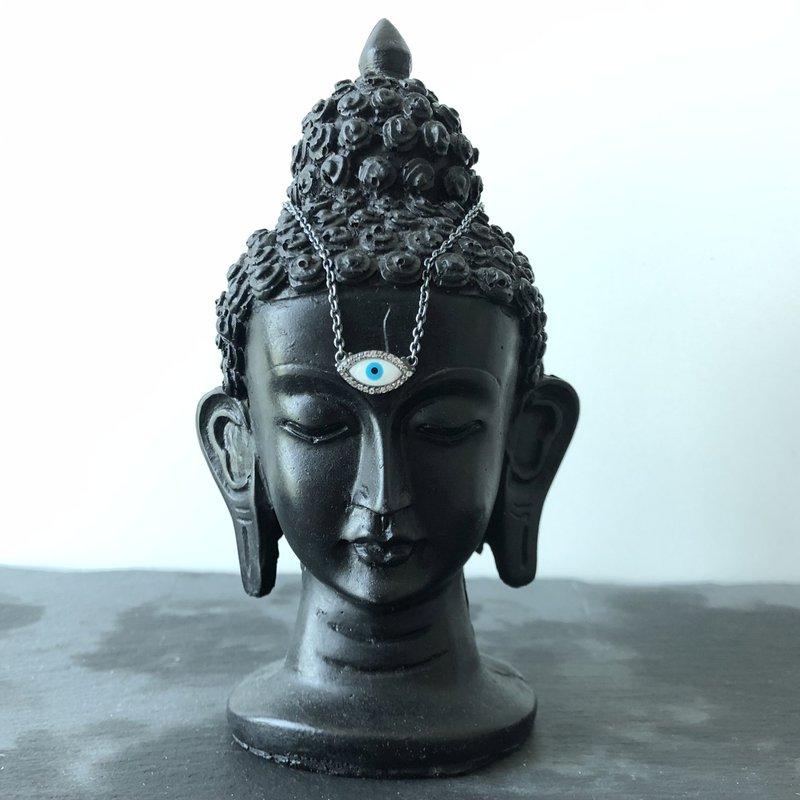 Lika Behar Collection Oxidized Silver Enamel Evil Eye Necklace with Sapphires