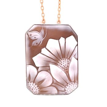 Sterling Silver Cameo Floral Pendant