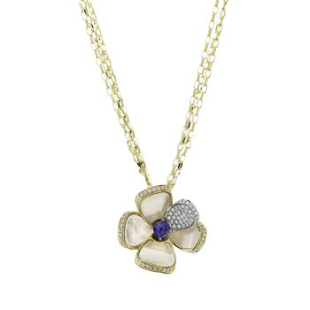 Yellow Gold Mother of Pearl Flower Pendant with Sapphire and Diamonds