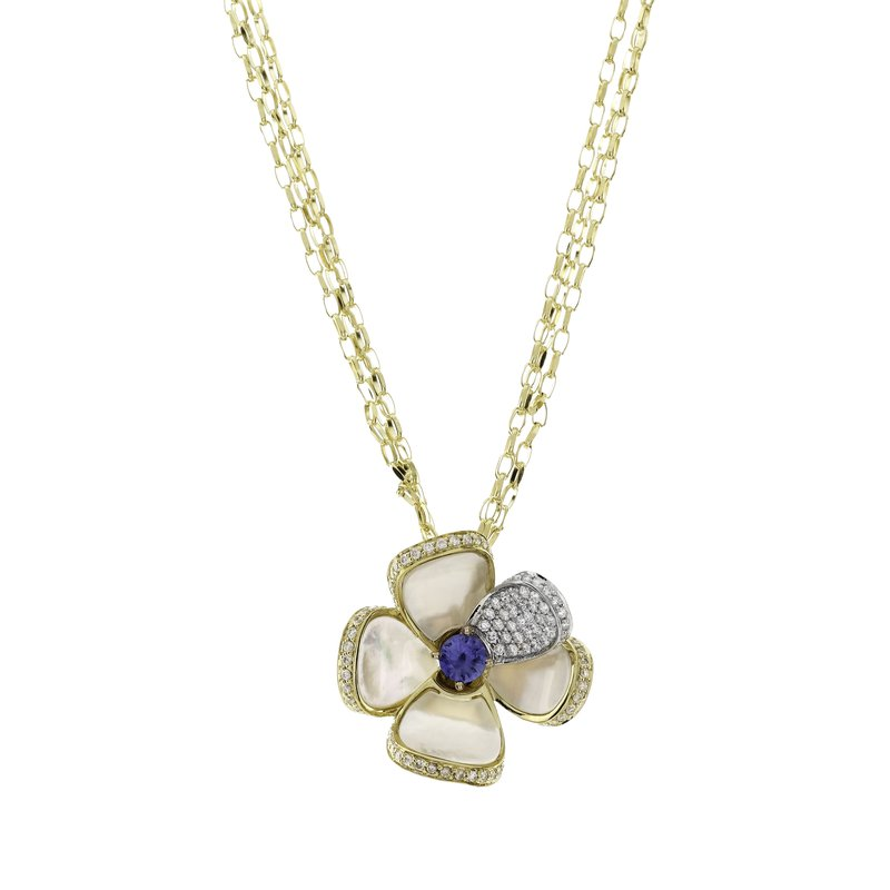 Rudolf Friedmann Yellow Gold Mother of Pearl Flower Pendant with Sapphire and Diamonds