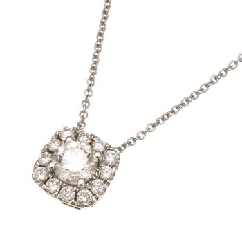White Gold Diamond with Cushion Halo Pendant