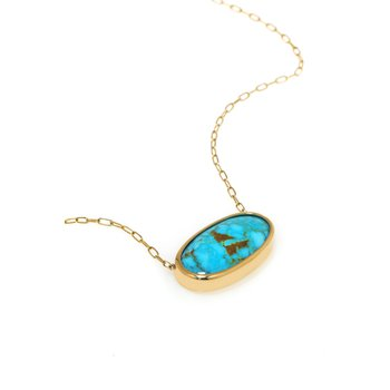 Yellow Gold Kingman Turquoise Necklace