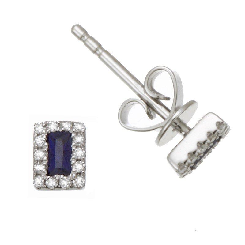 Dilamani White Gold Tiny Sapphire and Diamond Stud Earrings