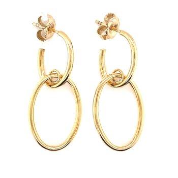 Yellow Gold Double Oval Link Earrings