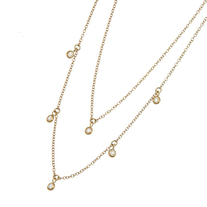Devon Fashion Yellow Gold Diamond Cleopatra Necklace