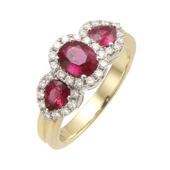 Two Tone 3-Stone Ruby and Diamond Halo Ring