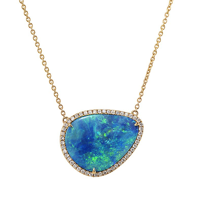 Devon Original Yellow Gold Boulder Opal Necklace with Diamonds
