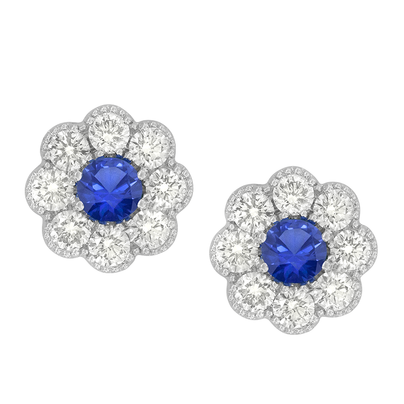 Spark Creations White Gold Blue Sapphire and Diamond Flower Earrings