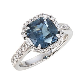 White Gold Blue Green Sapphire and Diamond Ring