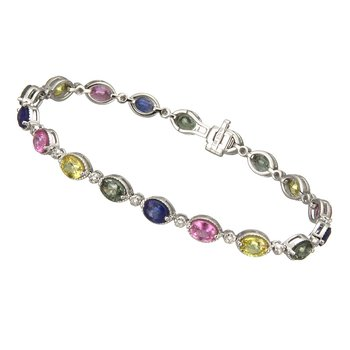White Gold Multi-color Sapphire and Diamond Bracelet
