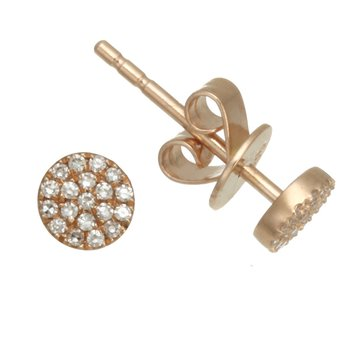 Rose Gold Small Diamond Pave Stud Earrings