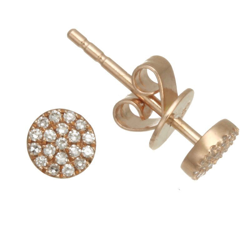 Devon Fashion Rose Gold Small Diamond Pave Stud Earrings
