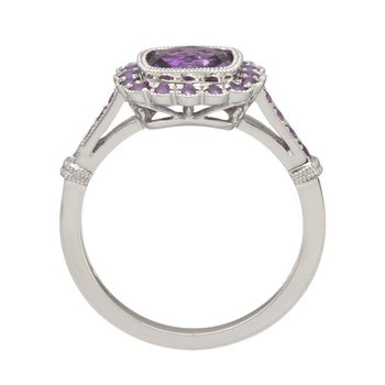 White Gold Amethyst Halo Ring